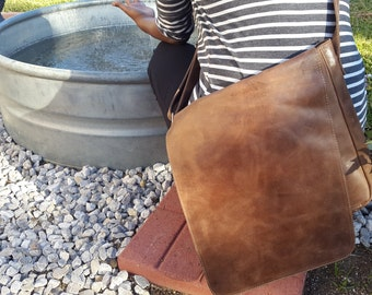 100% Ethiopian Leather Messenger Bag with Long Flap