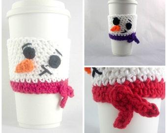 Snowman Travel mug sleeve / Set of 2 / coffee mug cozy / travel cup sleeve / cup cozy / travel mug cozy / coffee cup sleeve