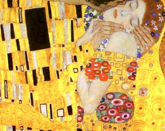 "Great Lovers~by Gustav Klimt~The Kiss 12.5 x 16.5""  Canvas Print"