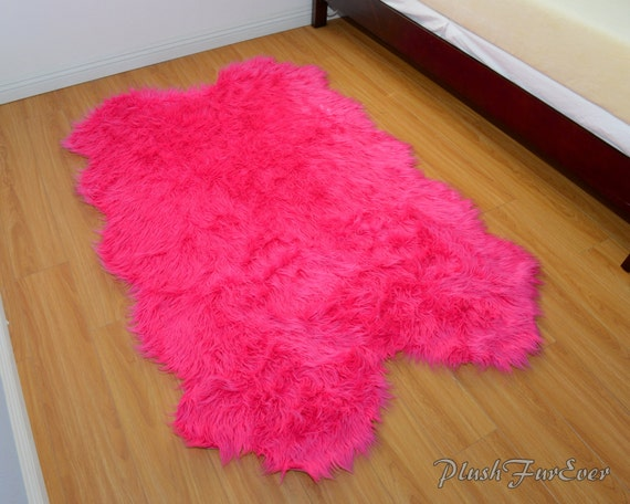 Pink Fur Rug Home Decor