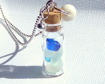 Beach Sea Glass Tiny Vial Puka Shell Necklace