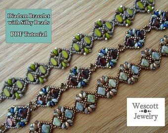 Pattern for Diadem Bracelet with Silky Beads and SuperDuos