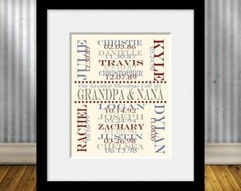 Nana and Papa's Gift, Grandkid's Names and Birthdates, Personalized Grandparent Gift, Anniversary Gift, Grandparents Christmas Gift