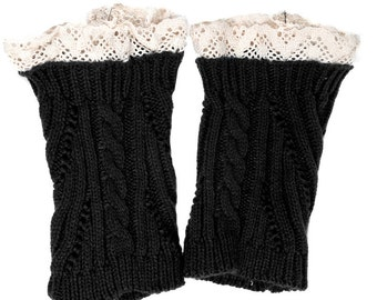 Women Knit Lace Short No Button Leg Warmers, Boot Socks, Leg Sweaters, Cable Knit Socks-Black