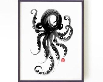 Octopus watercolor print, Black and white art, Bathroom decor, Nautical artwork, Sealife art, Ink drawing, Modern decor, Buy 2 Get 1 Free