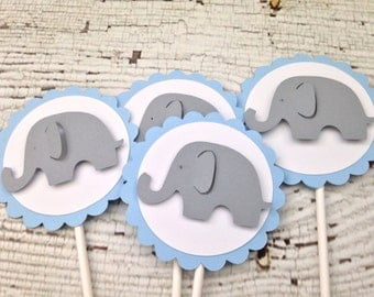 Blue and Gray Elephant Baby Shower Cupcake Toppers, Elephant Theme Baby Shower Decorations