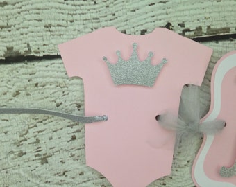 Princess Crown Baby Shower Banner in Pink and Silver, Princess Theme Baby Shower Decoration
