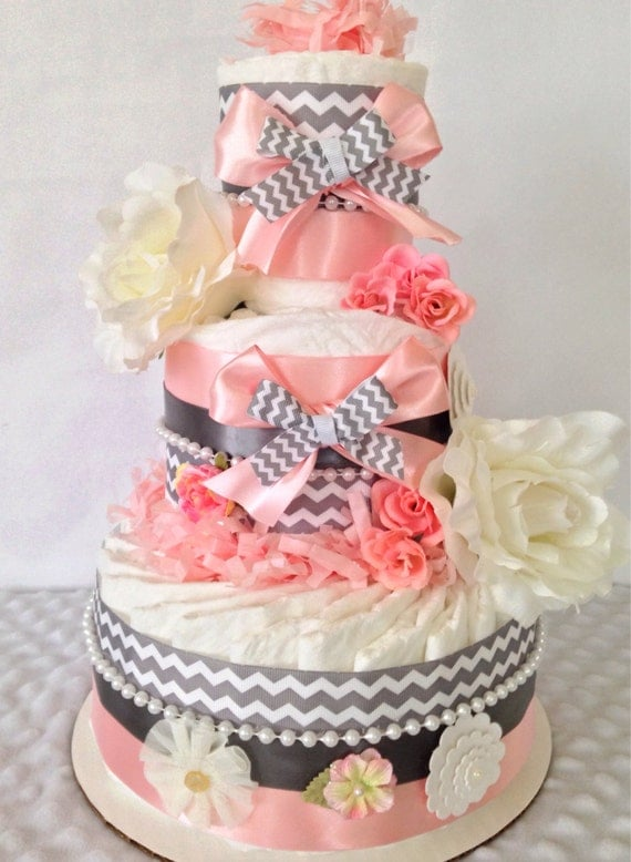Vintage Shabby Chic Baby Diaper Cake for Girls, Pink and Gray Diaper Cakes, Shabby Chic Baby Shower Centerpiece