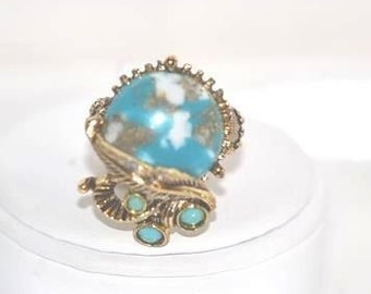 Vintage Faux Turquoise Matrix on Adjustable Band in Antiqued Gold Tone Ring