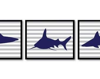 Shark Animals Art Prints Stripes Set of 3 Grey Stripes Blue Sharks Boys Art Nursery Art Nursery Print Child Kids Room Wall Art Decor