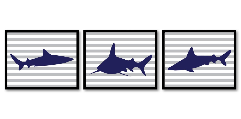 Shark Animals Art Prints Stripes Set of 3 Grey Stripes Blue Sharks Boys Art Nursery Art Nursery Prin