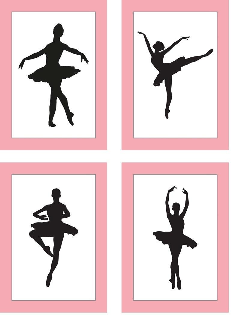 Pink Black White Silhouette Ballerina Art Child Baby Art Prints Set of 4 Ballet Girl Kids Room Wall