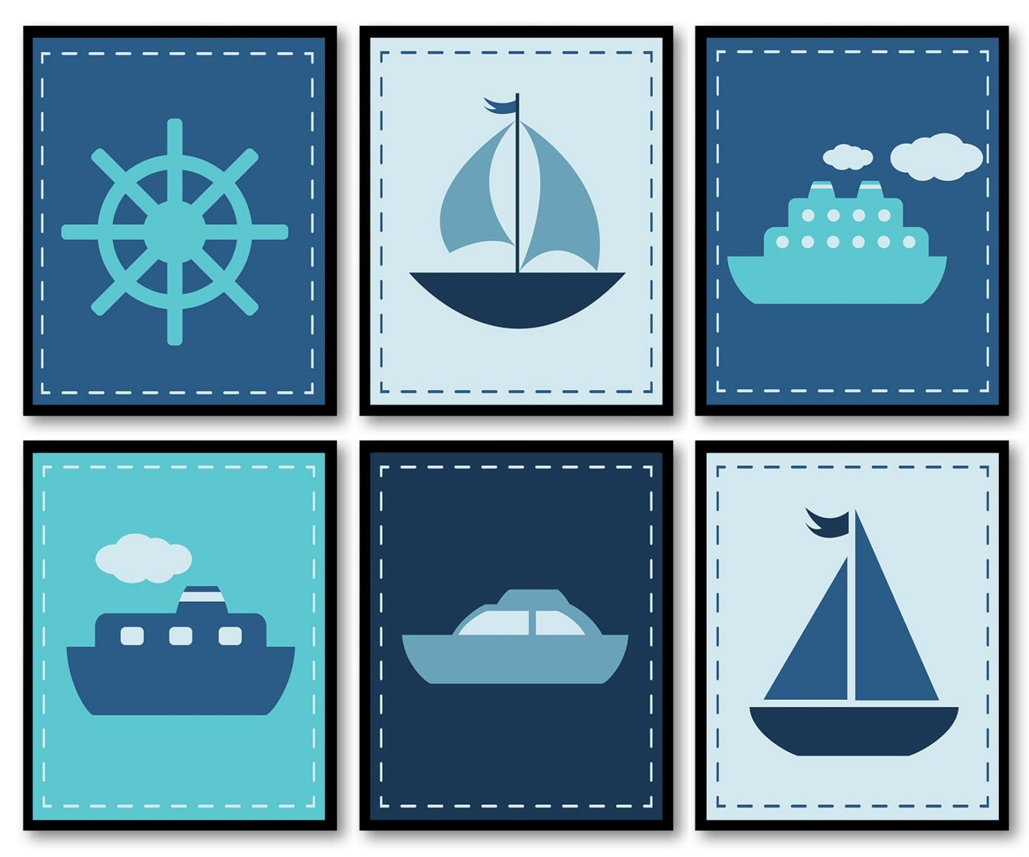 Nautical Nursay Ocean Marine Navy Boys Art Print Wheel Boat Ship Sailboat Set of 6 Prints Nursery Wa
