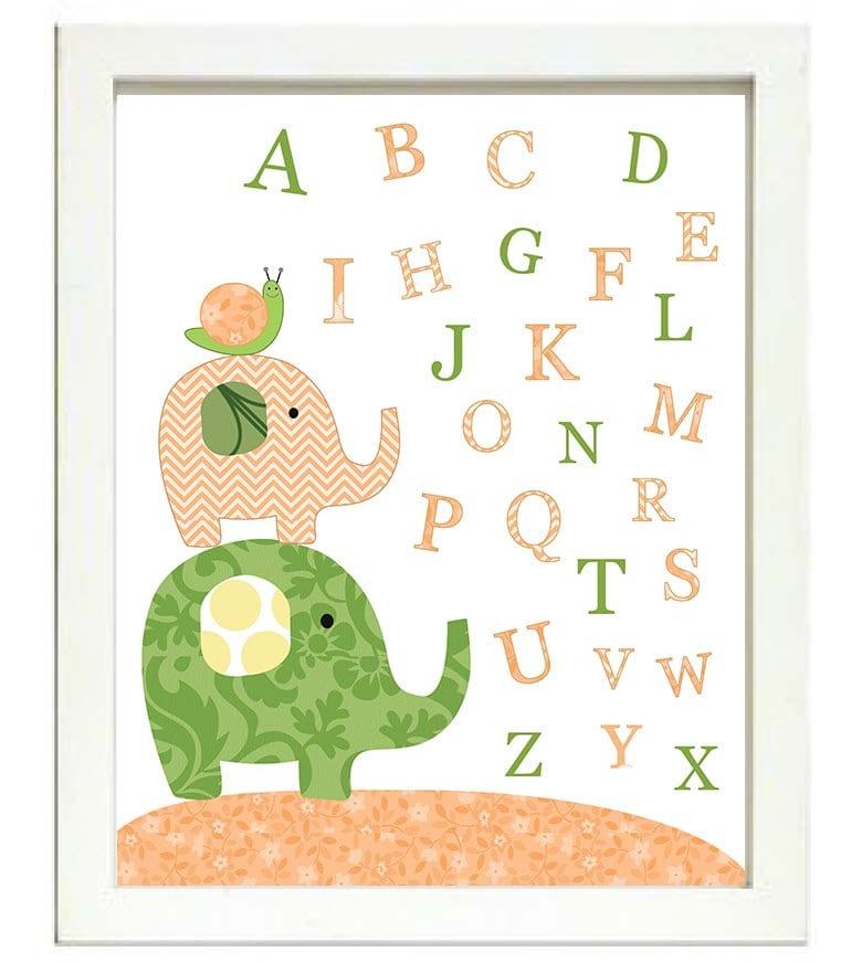 Snail Elephant Nursery Art Alphabet ABC Letters Nursery Print Baby Art Animal Peach Orange Green Pol