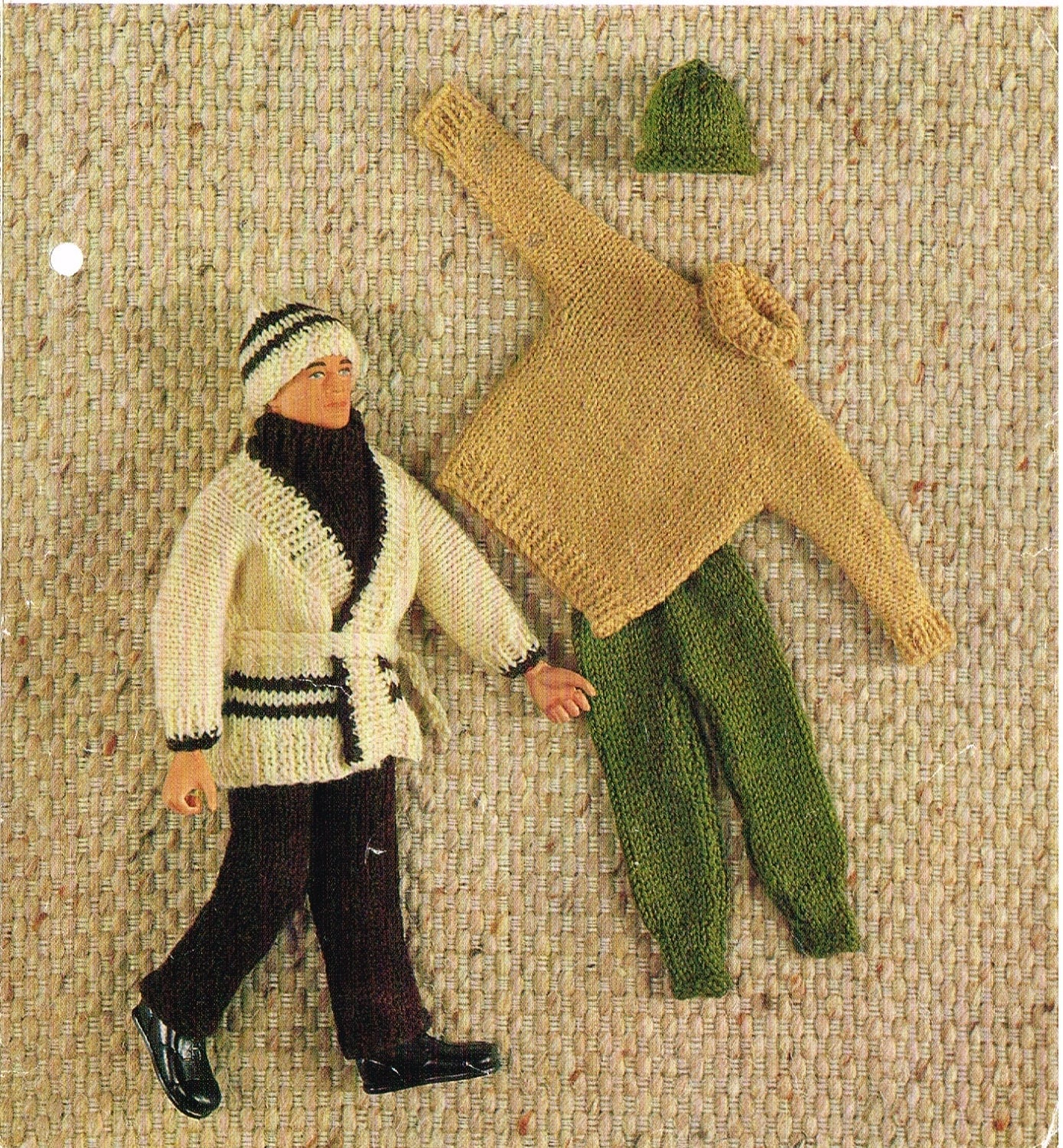 12-13 Dolls clothes knitting pattern. Ken Action man.