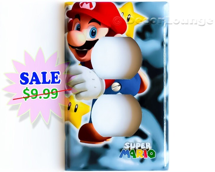 Sale Now Running Super Mario Gold Stars Power Outlet Cover