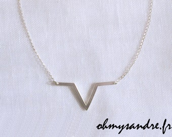 silver necklace 925 geometric triangle