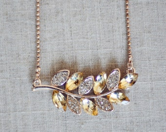 THE VEDA - Delicate Gold Rhinestone Leaf Statement Pendant Necklace Jewelry Gold Beaded Chain Crystals Golden Elegant Piece Yellow