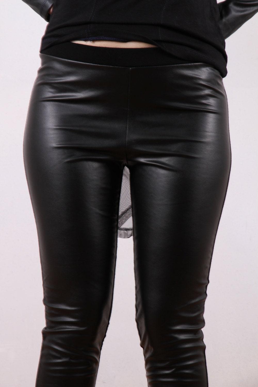 JMSTYLE Black Leather Leggings Faux Leather Pants