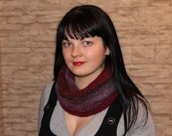 tunnel scarf, cowl scarf, circle scarf, violet, bordo