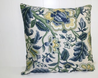 Waverly Home Decor Imperial Dress Twill Blue Floral Pillow Cover 16x16