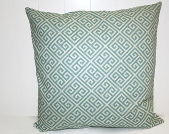 Pillow, Throw Pillow Cover, Decorative Pillow Cover Baby Blue and Cream, Richloom Maze Fabric