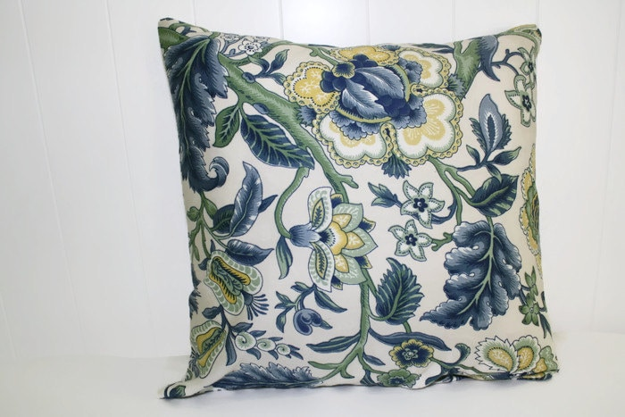Waverly home decor imperial dress twill blue floral pillow for Imperial home decor