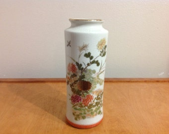 "10"" Japan Vase with Sparrows and Floral Design"