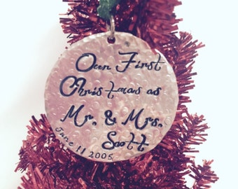 Hand Stamped Personalized-Our First Christmas- Merry Christmas 2014 ornaments Custom-family-gift-tree decoration-wedding gift