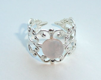 Silver rose quartz adjustable ring, Rose quartz gemstone cabochon ring, Silver rose quartz cabochon ring, Adjustable ring, Gifts