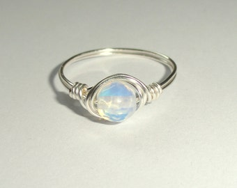 Moonstone ring, Silver wire wrapped moonstone ring, Moonstone wire wrapped ring, Gemstone ring, Silver moonstone ring
