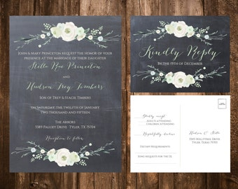 Chalkboard Winter Floral Wedding Invitations; Printable OR set of 25