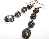 Earrings Victorian style with crystal beads, dangle earrings, drop earrings, beadwork, crystal-green water of the lake