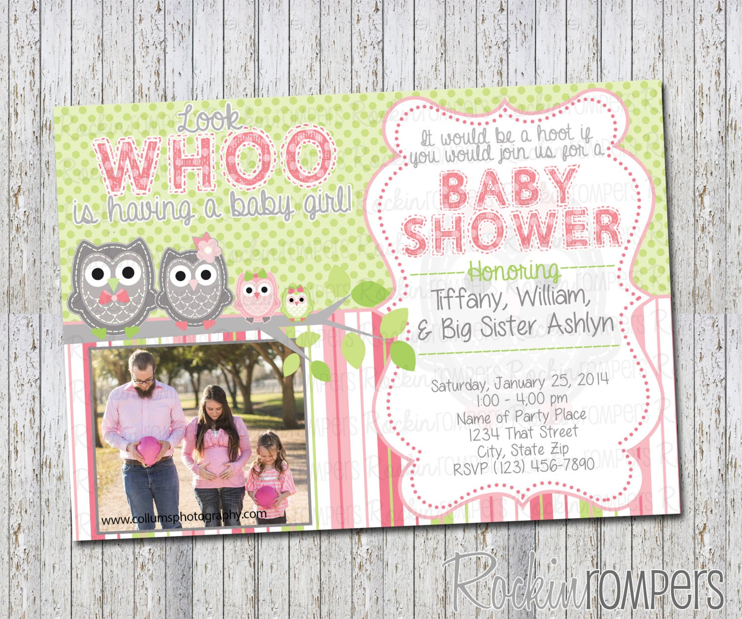 owl baby shower invitation by rockinrompers on etsy