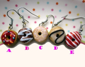 Colourful Polymer Clay Rainbow Doughnut Earrings, Cute Mulitcoloured Donut Jewellery