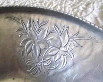 Vintage Hammered Aluminum Deep Serving/Display Bowl