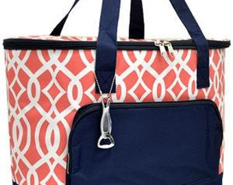 Insulated Cooler Bag.  Vine Print.  Includes FREE Embroidery