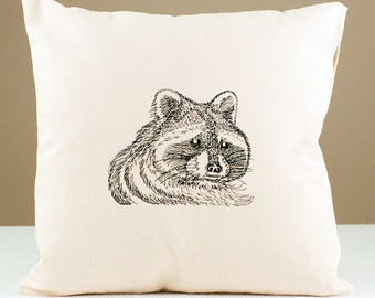 Embroidered Raccoon Pillow 16x16