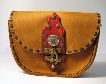 Soft leather purse/red