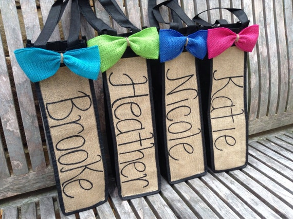 Personalized Burlap Wine Tote with Choice of Burlap Ribbon and Ink Color.