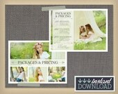 Photography Pricing Guide - Photographer Package List - Marketing - 5x7 Photoshop Template Photography Packages - INSTANT DOWNLOAD