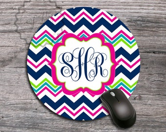 Colorful chevron Mousepad - Name or Monogrammed computer mat, personalized office desk accessory - 177