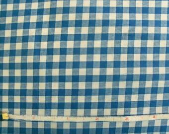 Vintage 60s Royal Blue Printed Gingham Fabric