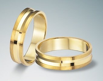 9K Pair Yellow Solid Gold  Wedding  Band 4,5mm-4,5mm