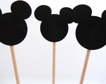 24 Black Mickey Mouse Toothpick Cupcake Toppers, Food Picks, Theme Party Picks
