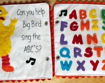 Felt Big Bird Sesame Street ABC Alphabet Quiet Book Pattern