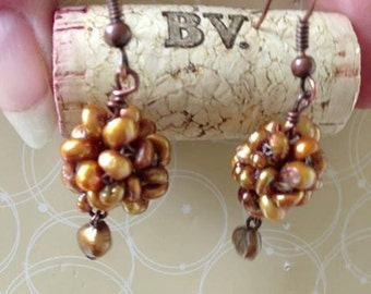 Bronze tinted freshwater pearl earrings