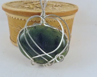Wire wrapped, Jade pendant, sterling silver, handmade pendant,  necklace