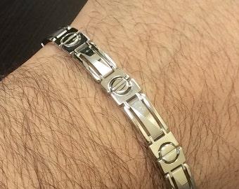 14K White Gold Men's Bracelet - Men's 14K Gold Link Bracelet - Handmade Bracelet - Men's Gold Bracelet - White Gold Bracelet - Men's Jewelry