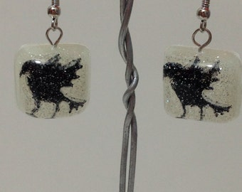 Halloween Crows in Square Resin Earrings